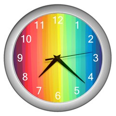 Sweet Colored Stripes Background Wall Clocks (Silver)