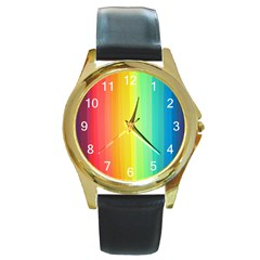 Sweet Colored Stripes Background Round Gold Metal Watch