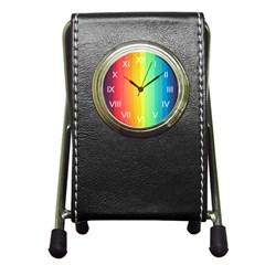 Sweet Colored Stripes Background Pen Holder Desk Clocks