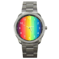 Sweet Colored Stripes Background Sport Metal Watch