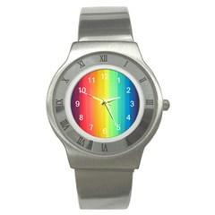 Sweet Colored Stripes Background Stainless Steel Watch