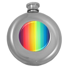 Sweet Colored Stripes Background Round Hip Flask (5 oz)
