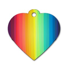 Sweet Colored Stripes Background Dog Tag Heart (One Side)