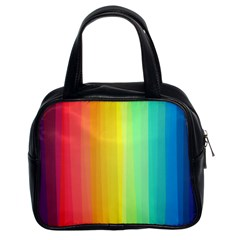 Sweet Colored Stripes Background Classic Handbags (2 Sides)