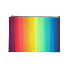 Sweet Colored Stripes Background Cosmetic Bag (Large)