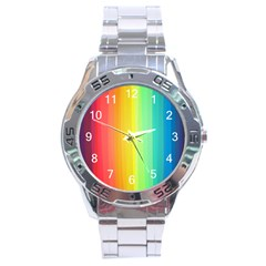 Sweet Colored Stripes Background Stainless Steel Analogue Watch