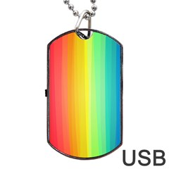 Sweet Colored Stripes Background Dog Tag USB Flash (One Side)