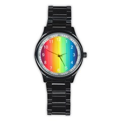 Sweet Colored Stripes Background Stainless Steel Round Watch