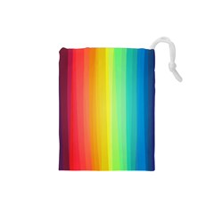 Sweet Colored Stripes Background Drawstring Pouches (Small)