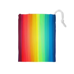 Sweet Colored Stripes Background Drawstring Pouches (Medium)