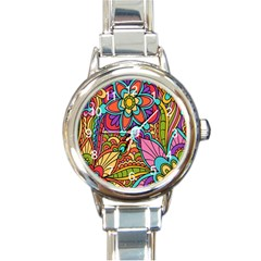 Festive Colorful Ornamental Background Round Italian Charm Watch