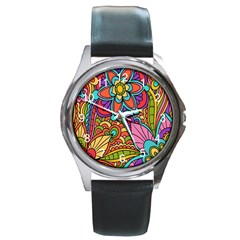 Festive Colorful Ornamental Background Round Metal Watch