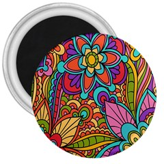 Festive Colorful Ornamental Background 3  Magnets