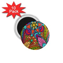 Festive Colorful Ornamental Background 1.75  Magnets (10 pack)
