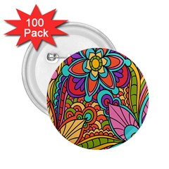 Festive Colorful Ornamental Background 2.25  Buttons (100 pack)