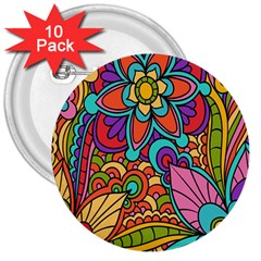 Festive Colorful Ornamental Background 3  Buttons (10 pack)