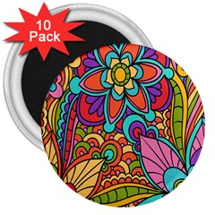 Festive Colorful Ornamental Background 3  Magnets (10 pack)