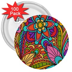 Festive Colorful Ornamental Background 3  Buttons (100 pack)