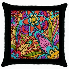 Festive Colorful Ornamental Background Throw Pillow Case (Black)