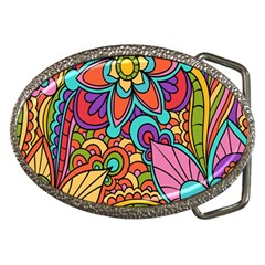 Festive Colorful Ornamental Background Belt Buckles