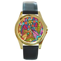 Festive Colorful Ornamental Background Round Gold Metal Watch