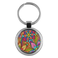 Festive Colorful Ornamental Background Key Chains (Round)