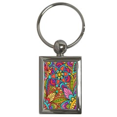 Festive Colorful Ornamental Background Key Chains (Rectangle)