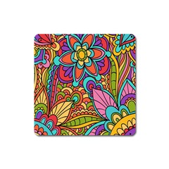 Festive Colorful Ornamental Background Square Magnet