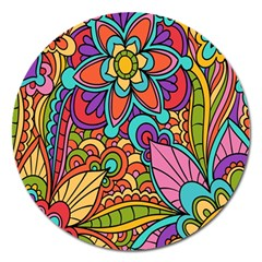 Festive Colorful Ornamental Background Magnet 5  (Round)
