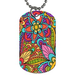 Festive Colorful Ornamental Background Dog Tag (Two Sides)