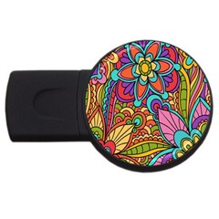 Festive Colorful Ornamental Background USB Flash Drive Round (2 GB)