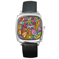 Festive Colorful Ornamental Background Square Metal Watch
