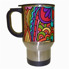 Festive Colorful Ornamental Background Travel Mugs (White)