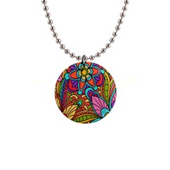 Festive Colorful Ornamental Background Button Necklaces