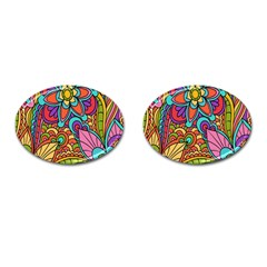 Festive Colorful Ornamental Background Cufflinks (Oval)