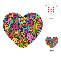 Festive Colorful Ornamental Background Playing Cards (Heart)
