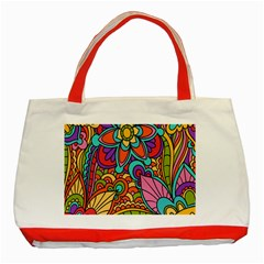 Festive Colorful Ornamental Background Classic Tote Bag (Red)