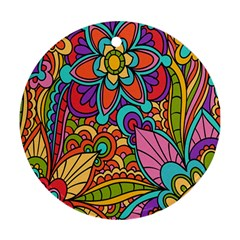 Festive Colorful Ornamental Background Round Ornament (Two Sides)