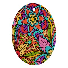 Festive Colorful Ornamental Background Oval Ornament (Two Sides)