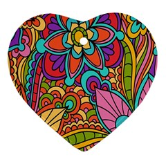 Festive Colorful Ornamental Background Heart Ornament (2 Sides)