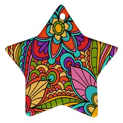 Festive Colorful Ornamental Background Star Ornament (Two Sides)