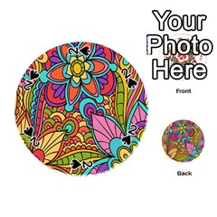 Festive Colorful Ornamental Background Playing Cards 54 (Round)