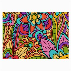 Festive Colorful Ornamental Background Large Glasses Cloth