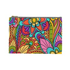 Festive Colorful Ornamental Background Cosmetic Bag (Large)