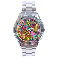 Festive Colorful Ornamental Background Stainless Steel Analogue Watch