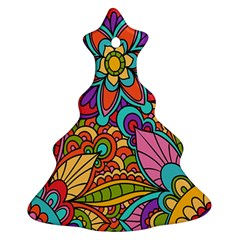 Festive Colorful Ornamental Background Ornament (Christmas Tree)