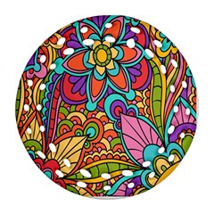 Festive Colorful Ornamental Background Round Filigree Ornament (2Side)