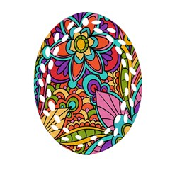 Festive Colorful Ornamental Background Oval Filigree Ornament (2-Side)