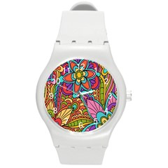 Festive Colorful Ornamental Background Round Plastic Sport Watch (M)