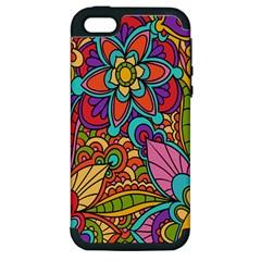 Festive Colorful Ornamental Background Apple iPhone 5 Hardshell Case (PC+Silicone)
